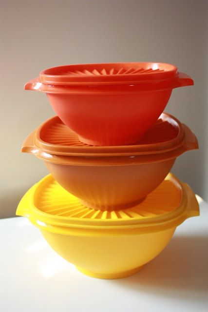 Vintage TUPPERWARE Servalier Lidded Harvest . Sold these all the time.