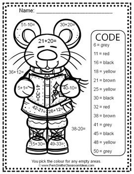 Christmas Colour By Number 2 Digit By 2 Digit Addition Subtraction Bundle Fern Smith S Classroom Ideas Christmas Addition Multiplication And Division