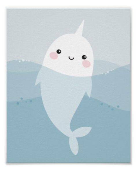 Cute wall art for kids featuring a cartoon illustration of a little narwhal swimming in the ocean. Ideal for an ocean or under the sea themed nursery. Ocean Themed Nursery, Sea Nursery, Baby Boy Nursery Themes, Baby Boy Rooms, Baby Boy Nurseries, Nursery Art, Baby Narwhal, Cartoon Sea Animals, Diy Cooler