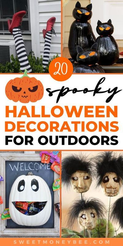 Diy Halloween Decorations For Outdoors That Are Cute Fun And Easy In 2020 Diy Halloween Decorations Easy Diy Halloween Decorations Outdoor Halloween Crafts