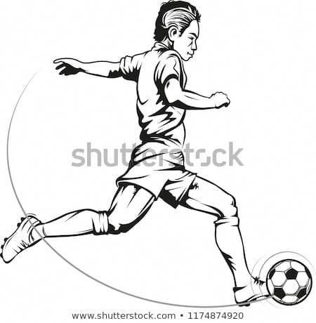 Vector Illustration Soccer Players In Action Football Player Drawing Football Illustration Football Players