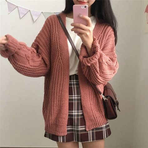 Warm Knit Sweater Cardigan - Cardigan Knit korean sweater Warm ca Style Outfits, Cute Casual Outfits, Mode Outfits, Korean Outfits, Fashion Outfits, Fashion Ideas, Fashion Clothes, Korean Outfit Street Styles, Winter Outfits