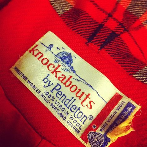 Knockabouts was a 1960s Pendleton line. The graphics of this tag (featuring haystack Rock in Cannon Beach, Oregon) are the basis of the