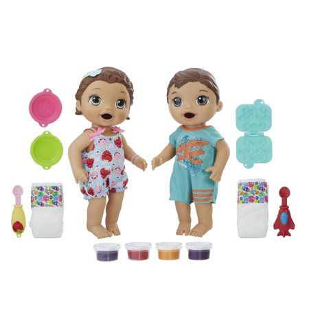 Baby Alive Snackin Twins Luke And Lily Brunette Dolls Walmart Com Baby Alive Baby Alive Dolls Baby Dolls For Kids