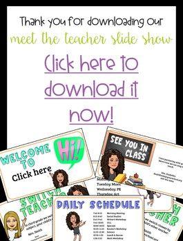 Meet The Teacher Bitmoji Google Slide Show Meet The Teacher Curriculum Night Meet The Teacher Template