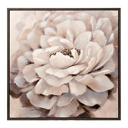 White Peony Framed Canvas Art Print Kirklands Leinwandkunst Wie Man Blumen Malt Kunstproduktion