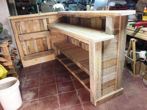Man Cave Wood Pallet Bar Kostenlose Diy Plane Unbillig Kreativ In 2020 Pallet Bar Pallet Bar Diy Pallet Ideas Easy