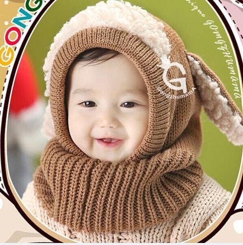 Toddler Kids baby Girls Boys Winter hat Coif Hood Scarf Warm Woolen Scarves  hat Hats 7ba332ce341