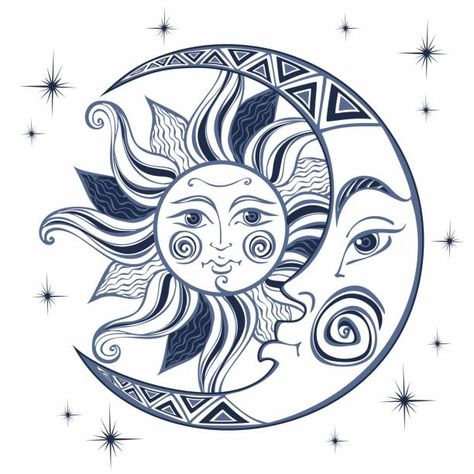 The moon and the sun. Ancient astrological symbol. Engraving. Boho Style. Ethnic. The symbol of the zodiac. Mystical. Vector. vector art illustration