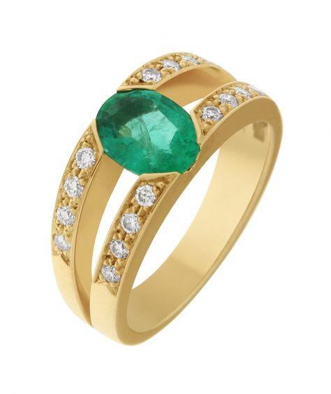 48e1cb11adb Bague Emeraude Ovale 8x6mm et Diamant Ref. 33365   Bague pour Femmes en Or Jaune  750 disponible sur la Bijouterie en ligne Trabbia Vuillermoz