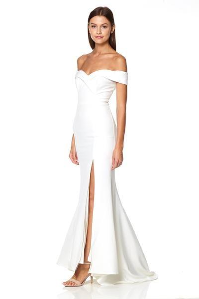 Bella Bardot Maxi Dress With Thigh Split And Train Dresses Special Dresses Modern Wedding Dress
