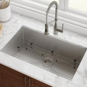 Kraus Standart Pro 32in 16 Gauge Undermount Single Bowl Stainless Steel Kitchen Sink Khu100 32 The Home Depot Undermount Kitchen Sinks Stainless Steel Kitchen Sink Single Bowl Kitchen Sink