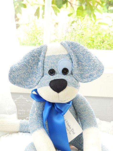 Sock Monkey Doll Puppy Dog in Blue with Eye por SockMonkeyBizz Love the ears Sock Monkey Pattern, Sock Monkey Baby, Monkey Doll, Diy Sock Toys, Sock Crafts, Crochet Sock Monkeys, Monkey Crafts, Sock Dolls, Rag Dolls