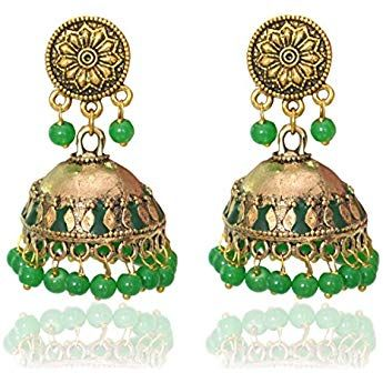 Sansar India Green Enamal Stud Jhumka Indian Earrings Jewelry for Girls and Women