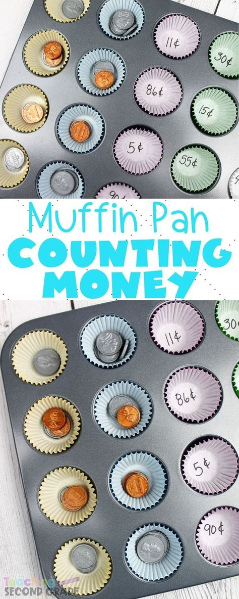 This Coin Recognition and Counting Activity is a fun way of sorting coin money. … This Coin Recognition and Counting Activity is a fun way of sorting coin money. Learning to count money is boring the regular way. This is exciting for the kids. Teaching Second Grade, Second Grade Math, Teaching Math, Grade 1, Kindergarten Math, Teaching Multiplication, Teaching Numbers, Teaching Geography, Teaching Colors