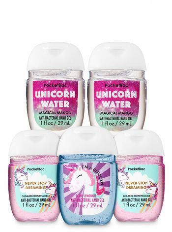 Unicorns Rainbows Pocketbac Hand Sanitizers 5 Pack Bath And