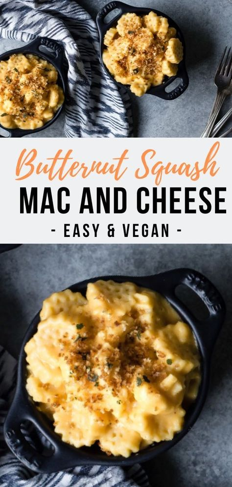 This easy Butternut Squash Mac and Cheese recipe features a silky vegan butternut squash cashew cheese sauce and a crispy sage panko topping.  THe best comfort food dinner for the whole family #vegan #dairyfree #easyrecipes #pasta