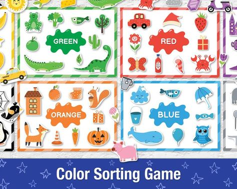 Color Sorting Busy Book for Toddlers, Printable Baby Quiet Book, Colors Learning Binder for 2 year old, Toddler Activity Book, Preschool