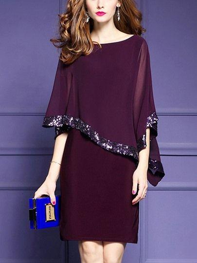 tüll cape einfarbrig kleid mit pailletten absatz kleider