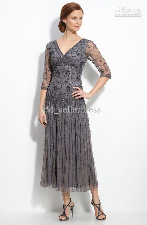 Ankle Length Mother Of The Bride Dresses Google Search Tea Length Dresses Mothers Dresses Beaded Mesh Dress