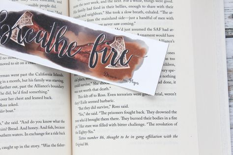 """Breathe Fire, Sky in the Deep inspired quote watercolor hand lettered bookmark. -Bookmark is made from high quality 150# Soft touch luxury card, -It is double sided and the back comes as pictured but will include my logo printed on it. -The corners will come square on this bookmark. - Approx. 2"""" x 7"""" Laminated at an extra charge. See Separate Listing.- HandmadeBookmark will ship in a removable clear plastic sleeve and cardboard mailer for protection.***** This is a Print of an original Painting."""