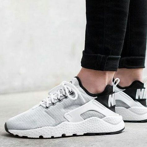 Nike Huarache Ultra Breathable Mesh White Black Shoes & Trainers was now Buy now and get FREE socks.