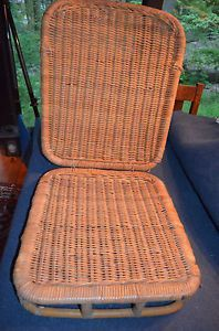 Vintage Folding Wicker Canoe Kayak Beach Chair Old Town Wood ...