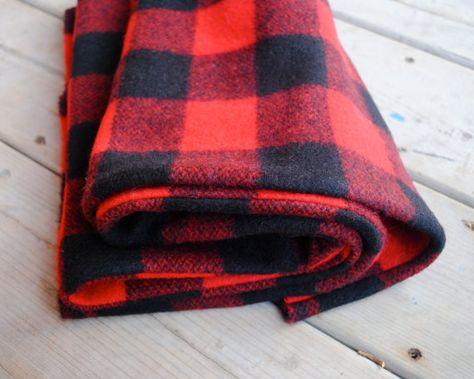 bd2cfbfee3cb Blanket Scarf -Wool Plaid- Oversized Scarf- USA-milled Buffalo Check Wool-