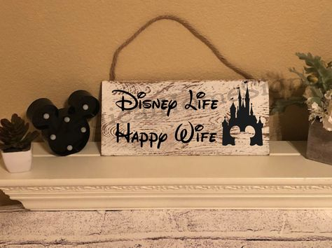 """Excited to share this item from my shop: Disney Home Sign """"Disney Life Happy Wife"""" Home Decor, Disney Home Decor, Disney Wall Hanging, Mickey Mouse Decor Disney Wall Decor, Disney Home Decor, Disney Crafts, Disney Kitchen Decor, Disney Themed Rooms, Disney Bedrooms, Disney Bathroom, Mickey Mouse Decorations, Happy Wife"""
