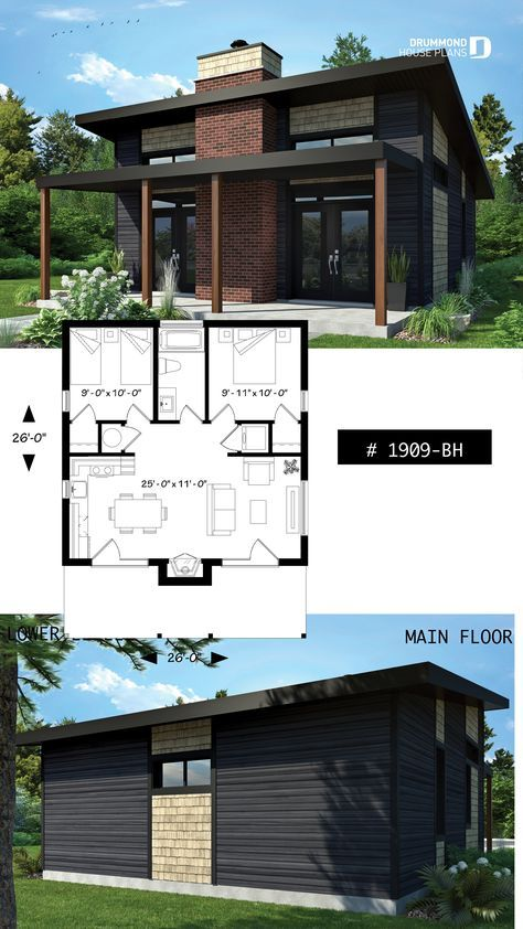 Discover The Plan 1909 Bh Bonzai Which Will Please You For Its 2 Bedrooms And For Its Modern Rustic Styles Small Modern Cabin Modern Farmhouse Plans Cottage House Plans