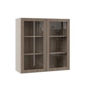 Hampton Bay Designer Series Edgeley Assembled 36x36x12 In Wall Kitchen Cabinet With Glass Doors In Driftwood Wgd3636 Eddw The Home Depot Glass Cabinet Doors Glass Kitchen Cabinet Doors Glass Kitchen Cabinets