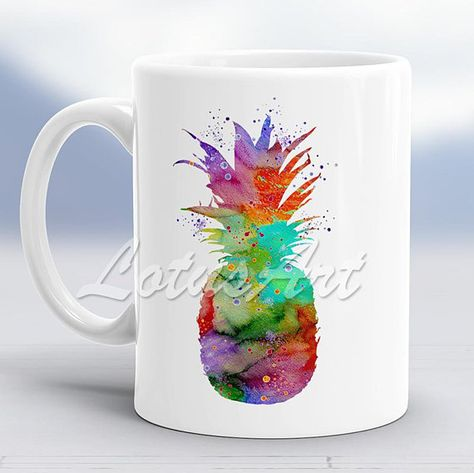 Pineapple 2 Watercolor Mug Pineapple Custom Mug Coffee Mug