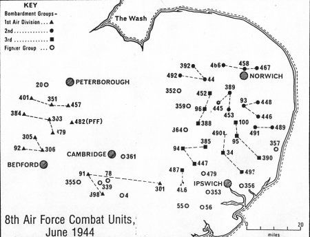 B Groups Of The Eighth Air Force WWII Includes Chelveston - Us air force bases in england map