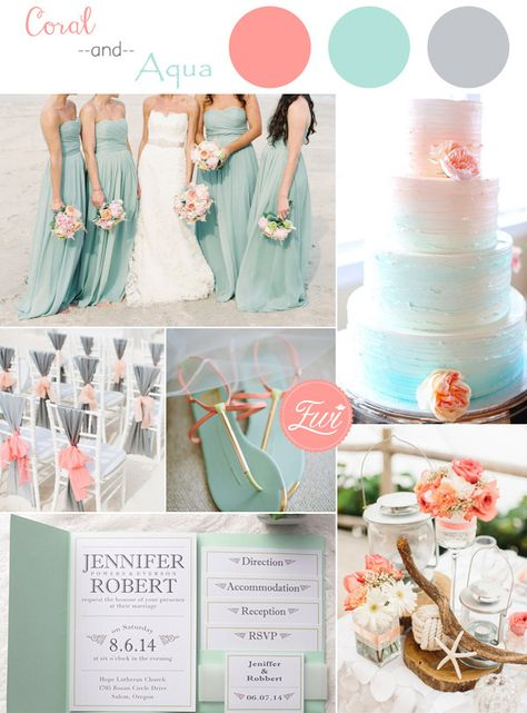 coral and aqua beach themed wedding color ideas and wedding invitations for summer 2015. http://luxuryweddingshow.co.uk/