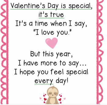 Sloth Themed Valentine S Day Cards And Original Poems For Parents Valentines Poems Valentines Day Poems Short Valentine Poems