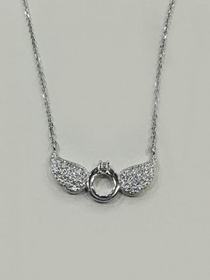 كوليه فضة عيار 925 كولية جناح فضة ايطالى مرصع بالفصوص Jewelry Jewelrymaking Love Women Silver Goldjewellery Diamond Necklace Jewelry Diamond