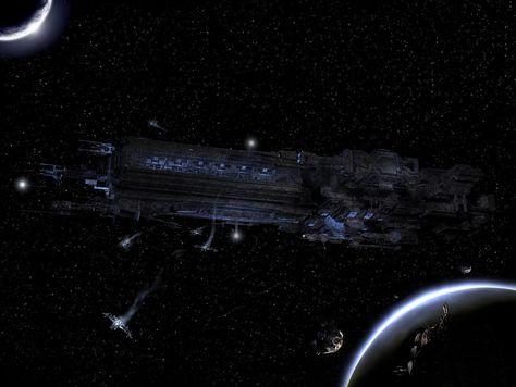 Battleship in orbit by Xtrack.deviantart.com on @DeviantArt