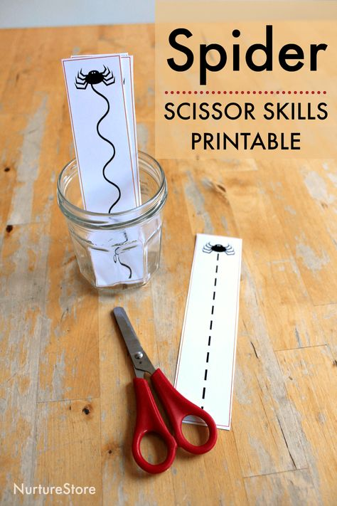 Use these spider scissor skills printable cutting cards to set up a Halloween-themed cutting centre. Great for fine motor skills! Spider scissor skills printable cutting sheets Using scissor takes. Cutting Activities, Motor Skills Activities, Montessori Activities, Toddler Activities, Nursery Activities Eyfs, Nursery Rhymes Preschool, Fine Motor Activities For Kids, Fine Motor Skills, Toddler Learning