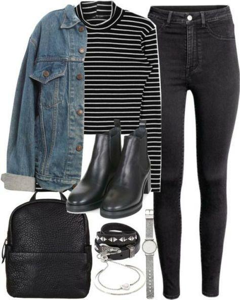 Outfit für uni mit einer Jeansjacke von ferned mit hohem Stehkragen - - Natur - Mode - Reise Leidenschaft - Handwerk Roupa para uni com uma jaqueta jeans de samambaia com uma gola alta - - natureza - moda - paixão por viagens - handw de Outono Uni Outfits, Mode Outfits, Grunge Outfits, Winter Outfits, Casual Outfits, Grunge Shoes, Dress Outfits, Casual Clothes, Simple College Outfits