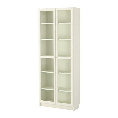 IKEA - BILLY / OXBERG, Bookcase, white, , Adjustable shelves can be arranged according to your needs.</t><t>Adjustable hinges allow you to adjust the door horizontally and vertically.</t><t>Glass-door cabinet keeps your favorite items free from dust but still visible.