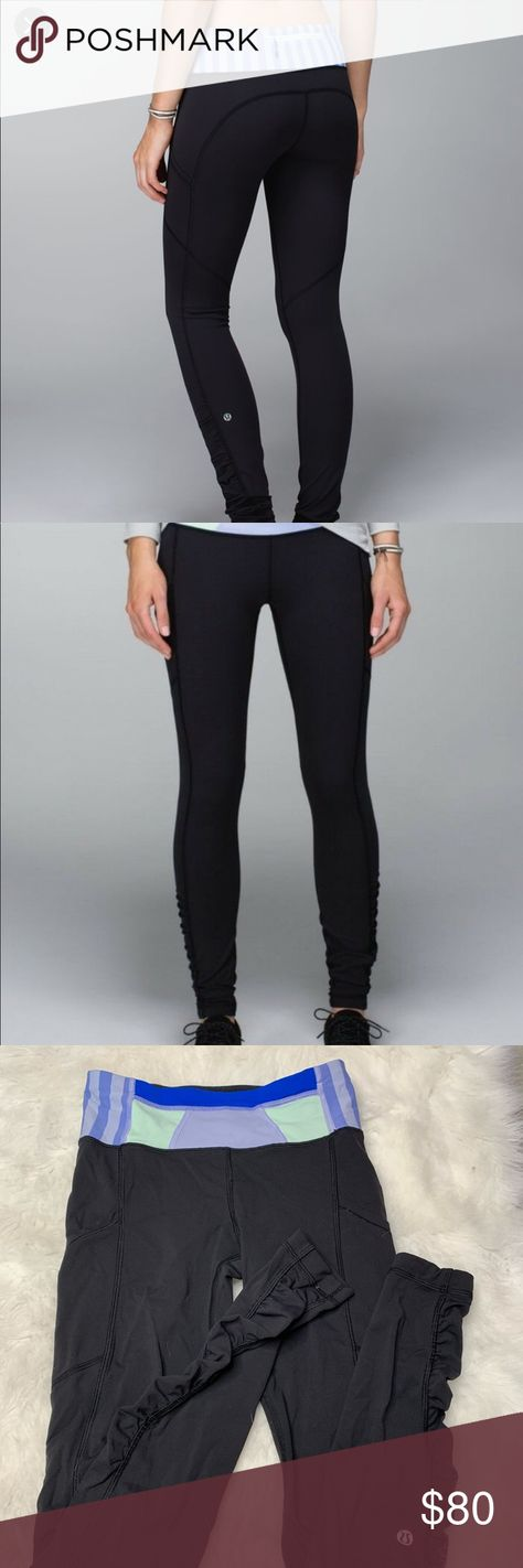 65dcd2a16b5ed Lululemon Ruched Speed Tight in Black Quilt Winter Perfect condition lulu  lemon leggings Cute ruched ankle