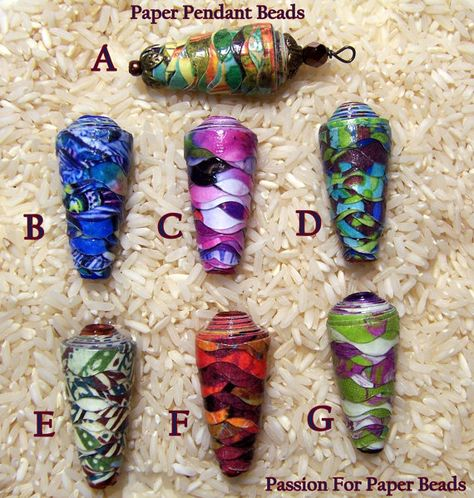 Handmade Paper Pendant Beads   by PassionForPaperBeads on Etsy  Look at all the fun new colors!