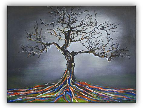 Mystischer Baum Gemalt Grau Weiss Moderne Malerei Baum Malen