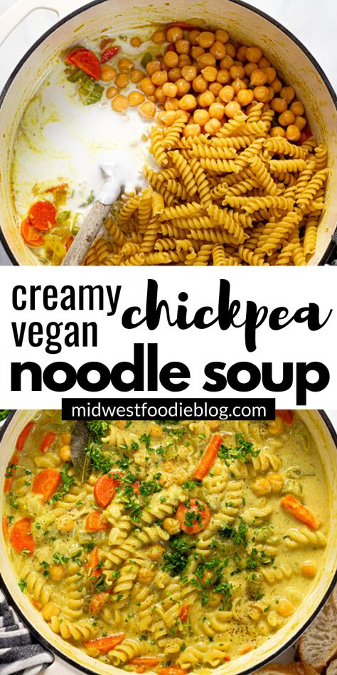 This creamy chickpea noodle soup is the best vegan comfort food - filled with pantry ingredients and warm, cozy flavors that your family will love! Vegan Dinner Recipes, Healthy Recipes, Veggie Recipes, Soup Recipes, Whole Food Recipes, Vegetarian Recipes, Cooking Recipes, Clean Eating Recipes For Dinner, Noodle Recipes