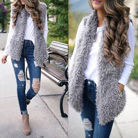 If you're seeking winter jeans outfits, we've got you covered. These outfits are cute, warm, cozy and casual. Pair your jeans with vests, sweaters and more! Fur Vest Outfits, Fall Outfits, Casual Outfits, Fashion Outfits, Fashion Clothes, Fashion Fashion, Fashion Ideas, Vintage Fashion, Winter Outfits Women 20s