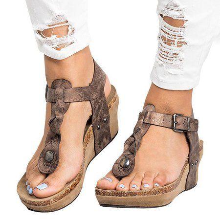 Shop Women's Shoes Large Size Adjustable Buckle Wedge