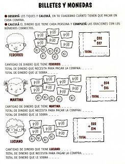 Aula Seño Sory Actividades Con Billetes Y Monedas Actividades De Matematicas Actividades Para Segundo Grado Matemáticas De Primer Grado