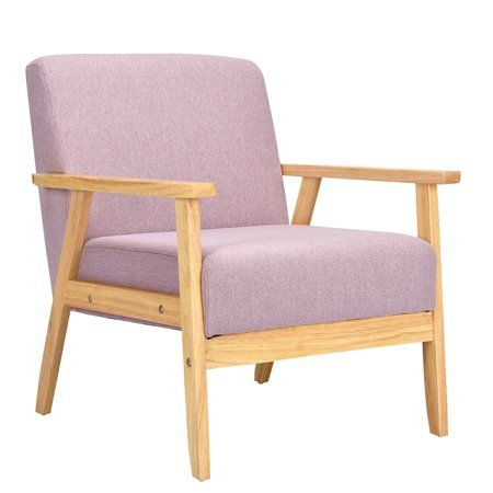 Buy Modern Fabric Upholstered Accent Chair Low Lounge Armchair Solid Wood Frame Pink From Walma Upholstered Accent Chairs Lounge Armchair Upholstered Arm Chair