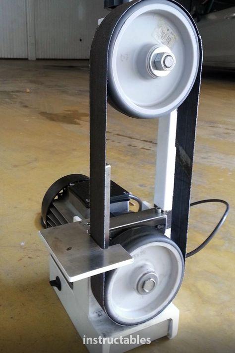 sbinf74. built a simple mini belt sander (belt grinder machine) that goes about 15 m/s. #Instructables #workshop #tools #sanding #woodworking