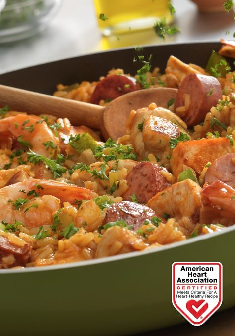Louisiana-Style Chicken, Sausage & Shrimp Skillet — This Louisiana Creole-inspired dish is hearty and loaded with fantastic flavor. Heart-Check Certification does not apply to recipes or information reached through links unless expressly stated. #AYHSweeps